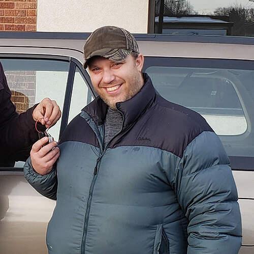 Chris with car